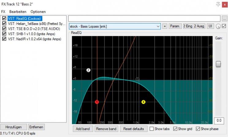 Der Basssound wir auf zwei Spuren und mehreren Plugins geformt