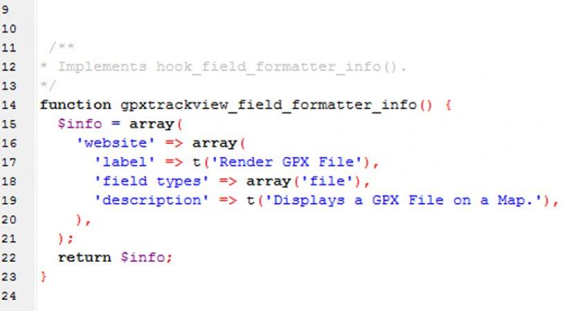 Ein paar Codezeilen aus meinem eigenen GPX-Tracks Modul.