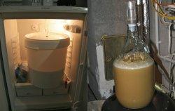 Zumindest hab ich ein Ergebnis. Links blubbern 15 Liter Untergäriges, rechts fünf Liter obergäriges Bier.