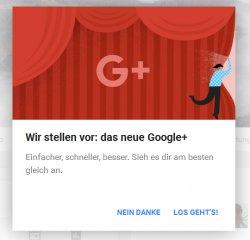 Dieser Hinweis ist heute  auf meiner Google+ Seite aufgeploppt