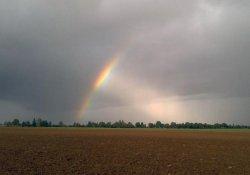 Regenbogen als Belohnung für ne Jogging-Runde bei Starkregen.